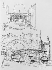 Bridge of Sighs and Wren's Bridge - St. John's College - Cambridge, England (schunky_monkey) Tags: penandink ink pen fountainpen freehand handdrawn pleinair illustration illustrator journal notebook drawing draw sketchbook sketching sketch bridge travel europe england cambridge stjohn'scollege
