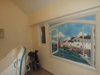 Window trompe l'oeil in a care home bathroom