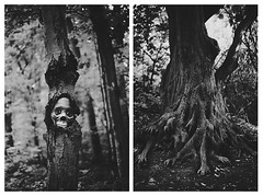 Happy Halloween!! (ginaballerina.) Tags: ginavasquez ginaballerina halloween ha 2017 halloween2017 skull bones tree forest haunted creepy spooky spoopy blackandwhite bw girl diptych creative horror genre scry scary scared hands medusa literallyamedusatree hahaha illstopnow haveahappyhalloween luvuall selfportrait ghost