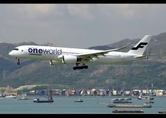 A350-941 | Finnair | oneworld | OH-LWB | HKG (Christian Junker | Photography) Tags: nikon nikkor d800 d800e dslr 70200mm aero plane aircraft airbus a350941 a350900 359 a359 a350 finnair ay fin ay69 fin69 finnair69 ohlwb oneworld heavy widebody specialscheme specialcolour speciallivery arrival landing 25r fog haze beacon airline airport aviation planespotting 019 hongkonginternationalairport cheklapkok vhhh hkg hkia clk hongkong sar china asia lantau terminal2 t2 skydeck christianjunker flickraward flickrtravelaward zensational worldtrekker superflickers hongkongphotos