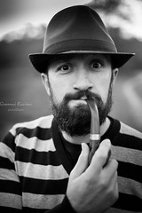 Davide Portrait #1 (Giovanni Riccioni) Tags: giovanniriccioniphotography canon canoneos5d 5d portrait biancoenero blackandwhite hat pipa pipe beard barba strip strips striscia strisce monochrome bw
