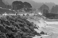 Cold wet and foggy (World-viewer) Tags: travel ngc cold weather dark sunset bluehour foggy california a6000 sony ilce6000 fog shoreline seashore seawall rocks beach spray splash water warwe waves