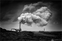 Geothermal Power (Maciek Gornisiewicz) Tags: iceland europe power energy industry plant geothermal steam vent landscape reykjanes peninsula lava travel blackandwhite mono monochrome bw clouds canon 24105mm 5div maciek gornisiewicz darkelf photography 2017