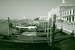 venezia (sanino fabrizio) Tags: venezia gondole laguna arenile barca imbarcazione bianco e nero monocromo san marco veneto italia molo storico monumento