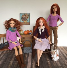 Redheads in purple (Foxy Belle) Tags: barbie room pumpkin wooden floor diorama dollhouse 16 scale today made move redhead handmade clothing sew scarf separates diy purple lavender handamde