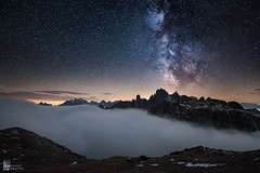 Wave of Fog (Edoardo Brotto) Tags: dolomites dolomiti edoardobrotto fog nightphotography milkyway stars starrynight peaks rocks summit seaofclouds