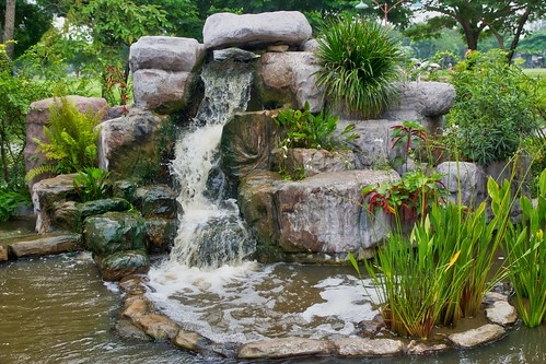 Water feature in Mueang Boran, Samut Phrakan, Thailand