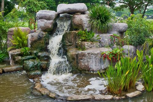 Water feature in Mueang Boran, Samut Phrakan, Thailand