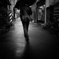 raining/雨 (s_inagaki) Tags: raining umbrella barbar butcher tokyo snap monochrome blackandwhite bnw bw 雨 傘 床屋 肉屋 東京 スナップ モノクロ 白黒