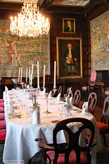Dining set and silver service (Can Pac Swire) Tags: hatfield house manor stately home hertfordshire england english great britain british uk unitedkingdom building jacobean architecture al9 interior inside 17th c 1600s 2016aimg1712 winter dining room tapestry chandelier