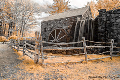 3-watermark (Brian M Hale) Tags: 695nm ir infrared outside outdoors lifepixel sudbury wayside inn grist mill old fence false color newengland new england ma mass massachusetts brian hale brianhalephoto waterfall water wheel