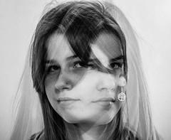 Twice nice [explored] (Peter Branger) Tags: activeassignmentweekly doubleexposure blackwhite portrait
