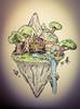 Cloud Cabin (morganriley114) Tags: fantasy sky mountians nature drawing art ink pencil warm yellow lantern orange tree green river water float