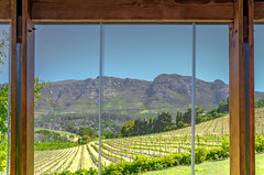 The view over lunch... (Coisroux) Tags: views buiteverwachting wineestate estate vineyards windows constantia capetown southafrica spring fields grapes farms landscape frames beams