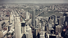 Three Bridges, New York City, 2016 (KSWest) Tags: 2016 copyright copyright©2016 lightroom on1 photoshop cityscape historic landmark landscape travel ©kswest ©stevewest ©stevenwest newyork unitedstates usa widescreen flickr brooklyn bridge texture river