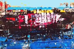 containerschiffaufderelbe-120x80 (CHRISTIAN DAMERIUS - KUNSTGALERIE HAMBURG) Tags: moderne norddeutsche malerei landschaftsmalerei werke bilderwerk hamburg wer malt bilder acryl kunstgalerie auftragsmalerei auftragskunst acrylmalerei hafencity bildergalerie galerie container schiffe elbe hafen rapsfelder schleswigholstein zeichnung hell abstrakt fotorahmen text surreal