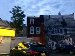 thursday walk (karenchristine552) Tags: baltimoreavenue mural philadelphiamuralarts reflection dusk nocturnal nocturnalphotography utata:project=tw598 philadelphia westphilly minimart a