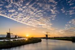Sunrise between the windmills (Rob Schop) Tags: ochtend morning zonsopkomst alblasserdam sunrise clouds landscape sonya6000 molens bracket nederland outdoor a6000 windmill kitlens kinderdijk