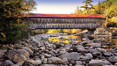 Covered bridge near Conway, NH (Randy Durrum) Tags: covered bridge new hampshire england fall autumn stream rocks sunset durrum conway s6 samsung galaxy white mountains