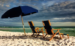 Toes in the sand (ArmyJacket) Tags: miramarbeach destin florida northflorida gulfofmexico beach ocean water sand chair vacation sky outdoor clouds