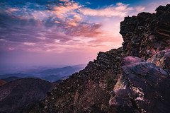 """What are men to rocks and mountains?""  ― Jane Austen, Pride and Prejudice (icarium82) Tags: marrakeschtensiftelhaouz marokko ma rocks morocco oukaimeden atlas sunrise northafrica travel panoramic view sonydscrx1rm2 carlzeissplanar35mmf20 nature purple violet dramatic autofocus"