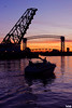 Into the Sunset (Thom Sheridan) Tags: thomsheridan cuyahoga river industrial flats cleveland 2017 boat bridge