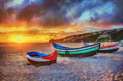 Sunset in Nazaré - Painting2 (Xtian du Gard) Tags: xtiandugard painting digitalpainting sunset nazaré portugal landscape seascape waterscape boats impressionisme