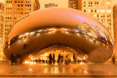 The bean from Chicago (Thanks for the Favs, comments and views) Tags: night chicago usa long exposure tone bean peoples motiion movement buildings structures architecture wonder travel reflections reflection mirror windows light flood floor evening thebean explore attraction placestovisit favoriteshot gold golden treasure greetings yellow orange people building