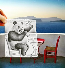 Panda waiting for a friend. Get my Pencil Vs Camera book: http://ift.tt/2kJt8PB 😘 #PencilVsCamera #benheineart #drawing #photography #dessin #photographie #art #creative #book #music #panda #seaside #love #friend #friendship #pencilvscamerab (Ben Heine) Tags: benheinephotography photography composition light smartphone nature landscape beauty beautiful photo photographie art ifttt instagram benheine horizon benheineart