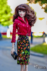 Lovely Barbie (elenpriv) Tags: barbie fashion doll leather jacket red outfit elenpriv elena peredreeva handmade clothes pencil skirt