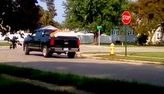 Hauling a load - HTT (Maenette1) Tags: pickuptruck loaded black sunshine neighborhood menominee uppermichigan happytruckthursday flicker365 michiganfavorites