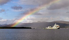 After the shower (BUTEOGRAPHYGIRL) Tags: rainbow rfaargus clyde sky cloud blue sea water river hills grey shower rain