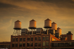 Sunset in Chelsea (allentimothy1947) Tags: newyork newyorkcity architecture buidling sunset top watertower chelsea