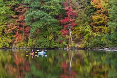 Kayaks on glass (Notkalvin) Tags: fallcolors fall colorful leaves notkalvin mikekline notkalvinphotography outdoor kayaks lake reflection trees nature michigan hinespark horizontal landscape twopeople recreation