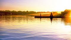 Inner Newport Harbor (iecharleton) Tags: harbor seascape reflection dawn sunrise sunset ocean sea sky sunbeams sunrays rays statue pavilion newport rhodeisland travel landscape