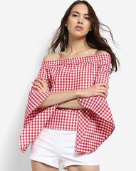 Checkered Zora Bell Sleeves Off Shoulder Tops for Girls (neha.thakur35) Tags: topsforwomen buytopsonline
