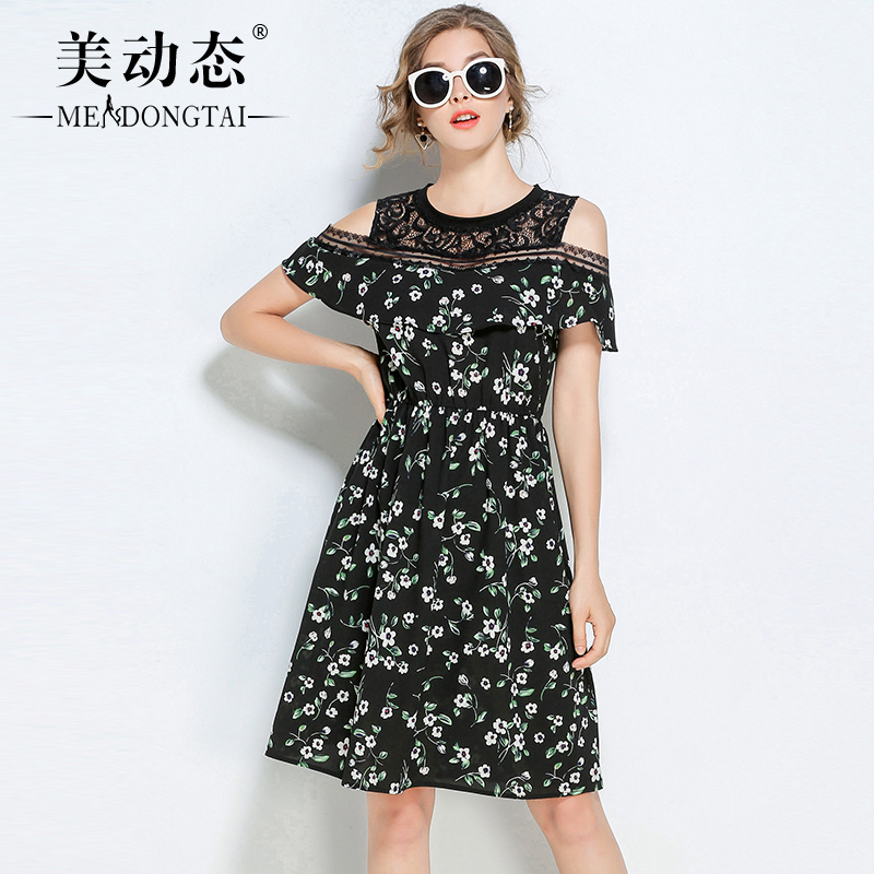 The dynamic mm 2017 new summer plump large size women shoulder sister woman clothes dress by age and obesity
