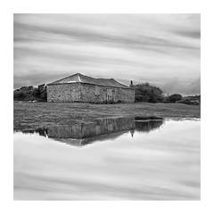 Barn Storm (richieJ 11) Tags: dartmoor barn reflections pond moorland monochrome blackandwhite