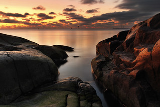 Sunset colouring the rocks