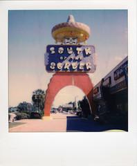 Big Pedro (thereisnocat) Tags: sx70 polaroid polaroidoriginals impossibleproject pedro mascot tourism hamer dilloncounty southcarolina sc roidweek2017