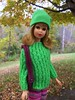 2. Dressed for Autumn (Foxy Belle) Tags: fall autumn trees change vermont color leaves vintage doll barbie francie 1966 mod 1960s first issue straight leg hillriders green sweater pink striped pants wool purse