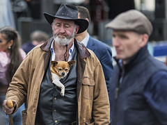 Taking the dog for a walk (Frank Fullard) Tags: frankfullard fullard candid street portrait dog pet pup lol fun funny cap hat colour color expression ballinasloe fair galway irish ireland walk exercise lazy beard chest waistcoat style