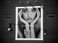 5 lights (khrawlings) Tags: advertising street hoarding bw blackandwhite monochrome opsobjects jewelry face model head hands shadow lights
