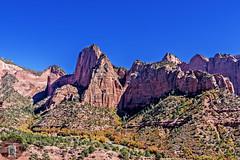 Kolob Canyon Zion NP Utah USA (randyandy101) Tags: rock rocky rocks redrocks red utah usa zion nationalpark canyon cliffs bluffs bluesky autumn colorful colors shimmering reflection reflective trees