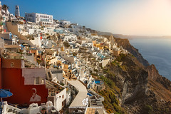 Town of Fira, Santorini Island, Greece (fesign) Tags: architecture buildingexterior builtstructure clearsky colours cyclades day europe firá greece greekculture greekislands horizontal hotel incidentalpeople mediterraneanculture outdoors photography resort restaurant rock santorini sea sunset town tradition traveldestinations vacation