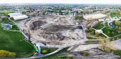 Centennial Park Oak Lawn - Facelift - Stitched panorama (Rick Drew - 20 million views!) Tags: oaklawn il illinois centennial park facelift construction cook county trees forest grove playground grass field ballpark fence heavy equipment dji drone phantom4pro p4p