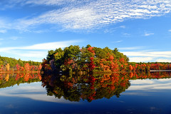 Autumn on Turner Pond (WilliamND4) Tags: pond water foliage leaves colorful sky clouds trees nikon d810 timing flickrfriday