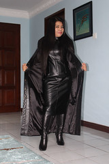 Dressed in Leather (johnerly03) Tags: erly ohilppines asian filipina fashion long leather coat dress hair high heel boots shiny black