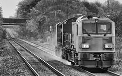 Track Cleaning At Bermuda (IAN GARDNER PHOTOGRAPHY) Tags: trackcleaner departmental diesel locomotive railway branchline blackwhite blackandwhite rails water hill train bermudapark networkrail