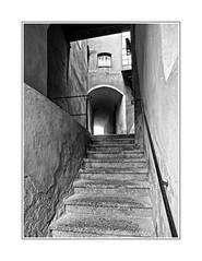 Aufgang (Panasonikon) Tags: treppe geländer durchgang altstadt bw panasonikon hallintirol gvario1232 olympusomdem1 steps oldtown